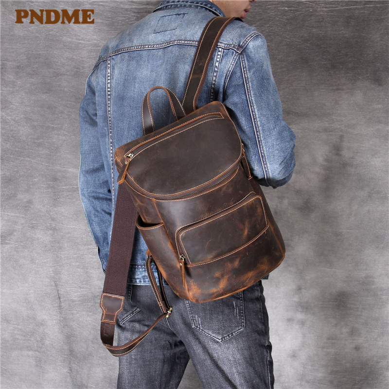 PNDME high quality simple crazy horse leather mens womens backpack vintage genuine leather handmade coffee travel schoolbagPNDME high quality simple crazy horse leather mens womens backpack vintage genuine leather handmade coffee travel schoolbag