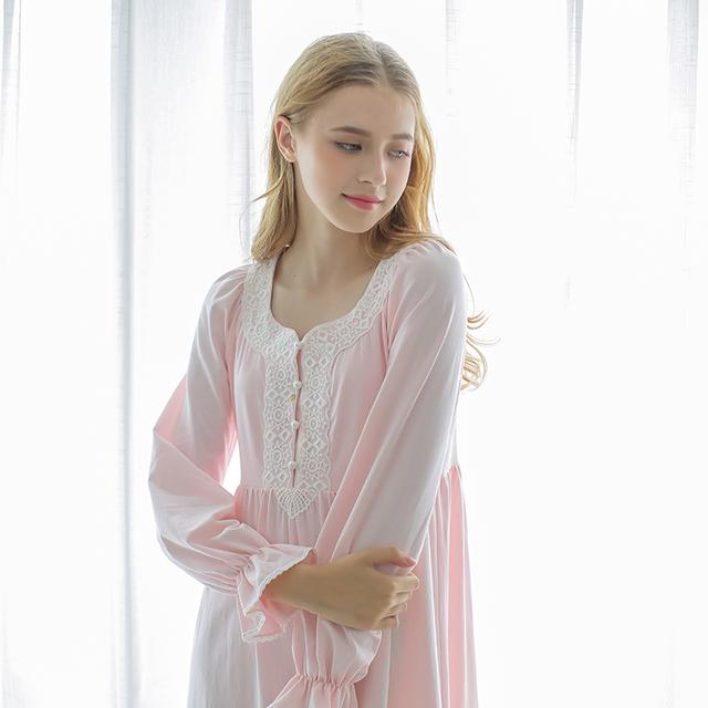 Envío Gratis Autumn Royal Vintage ropa de Noche 100% de Algodón de Manga Larga Blanco Camisón Camisón Camisón De Maternidad Femenina
