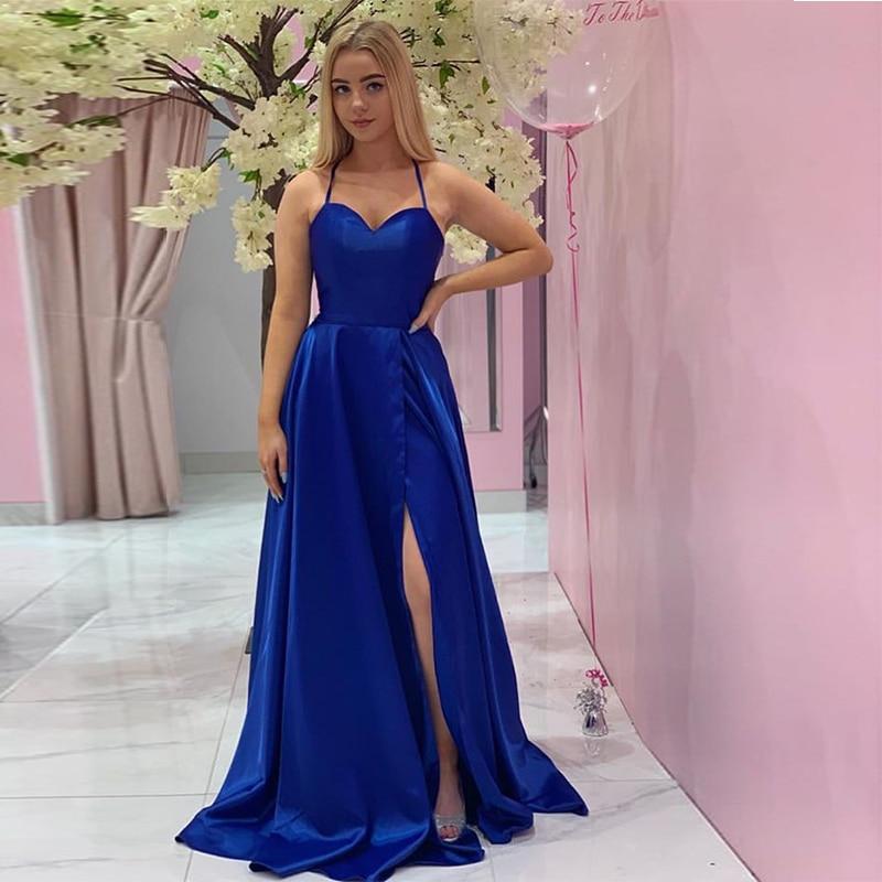 Sweetheart Neckline Royal Blue   Evening     Dresses   With Pocket Long Formal Party Gowns Crisscross Back Sweep Train Vestido De Noite