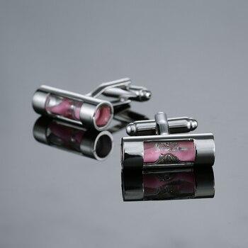 Francés camisa rosa nivel gemelos, material de latón novedad funcional Gradienter para hombre de diseño botones gemelos de boda