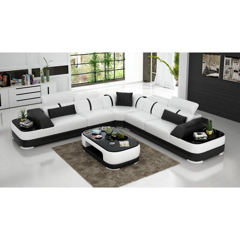 Black U-shape Living Room Furniture Sectional Sofa Set G8007 Fancy Colours Living Room Sofas Living Room Furniture