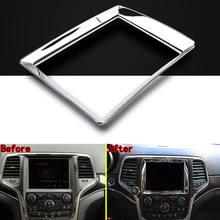 Cubierta de navegación GPS para coche, pegatina de marco de decoración ABS cromado para Jeep Grand Cherokee 2003-2012, accesorios interiores para coche