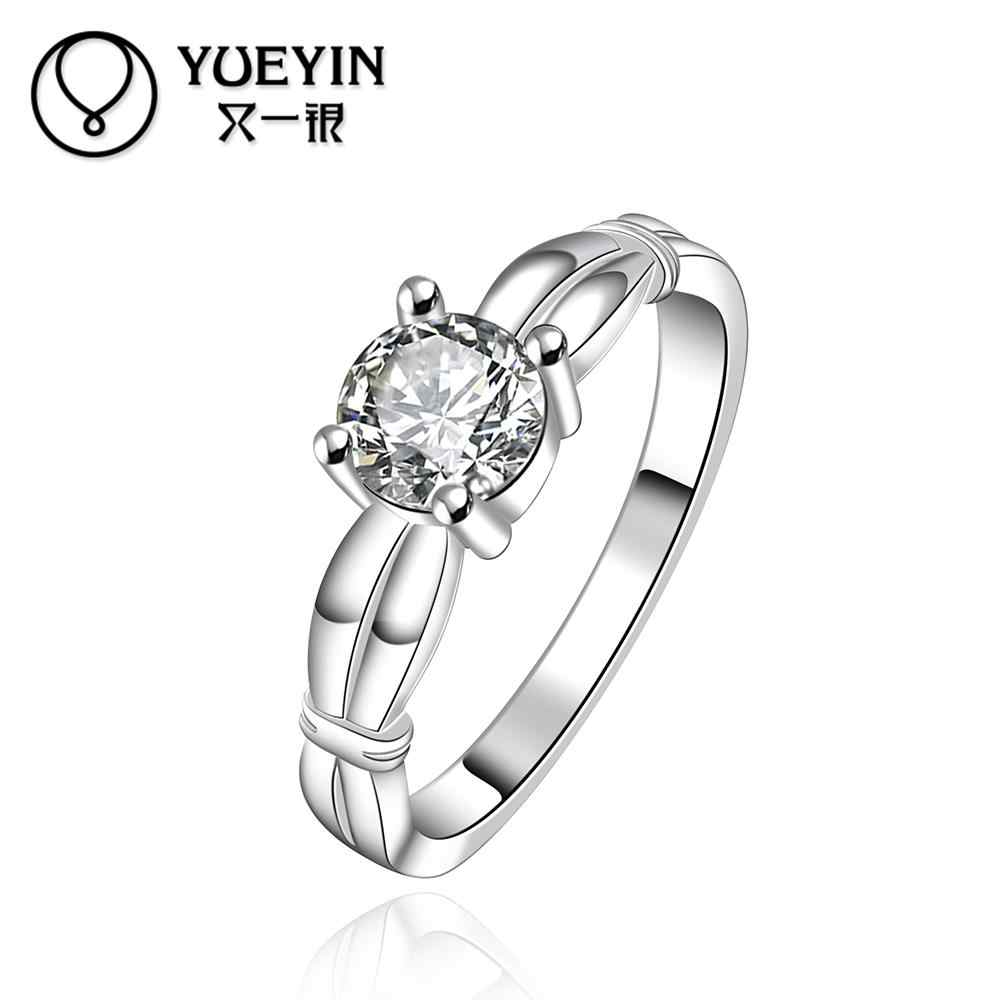 Zircon rings Wholesale silver plated rings for women wedding party fashion jewelry Anniversary Nickle free