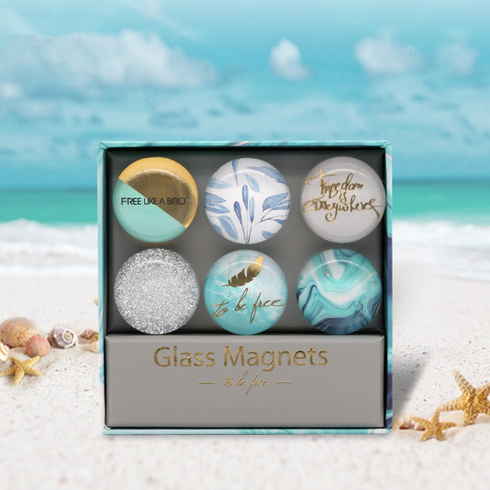 Купить с кэшбэком Light Blue Ocean Style Fridge Magnets Stickers Round Glass for House Decor Memo Pad Sticker Refrigerator Whiteboard Maps Paster