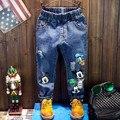 Calidad Cuatro Estaciones Pantalones Vaqueros de Las Muchachas Azul Donald Duck Niños Pantalones Pantalones de Los Muchachos de Mickey Mouse Niños Ropa Casual Mayorista