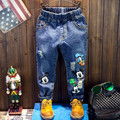 Quality Four Season Girls Jeans Blue Donald Duck Children Trousers Mickey Mouse Boys Pants Kids Casual Clothes Wholesale