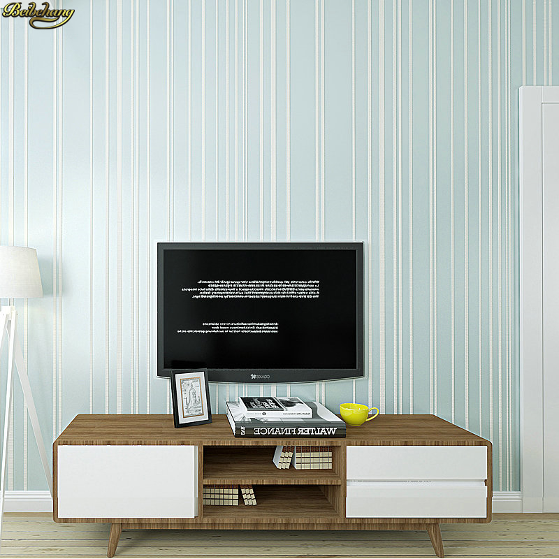 Beibehang Modern Minimalist Plain Solid Striped Non Woven Wallpaper Nordic  Style Living Room Bedroom TV