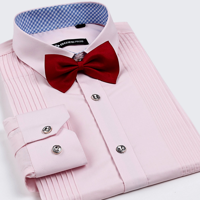2017 Top Uomini Di Modo Camicia Di Vestito Di Lusso Da Sposa Di Marca A Manica Lunga Formale Camicia Di Cotone Slim Fit Più Il Formato Camicia Da Smoking 9 Colori