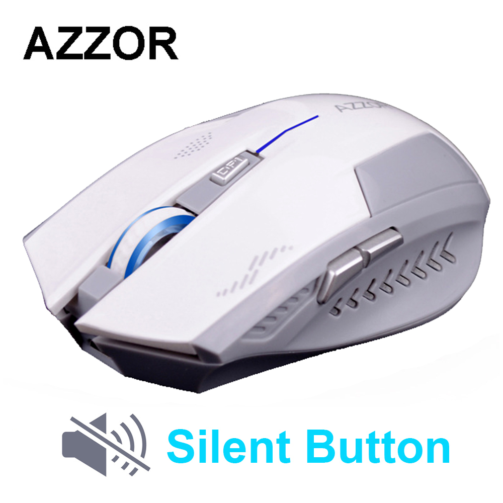цена AZZOR Rechargeable Wireless Mouse Slient Button Computer Gaming 1600DPI Built-in Battery with Charging Cable For PC Laptop