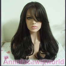 free shipping  SLIGHT wave black  2.5 inch hand make synthetic lace front wig