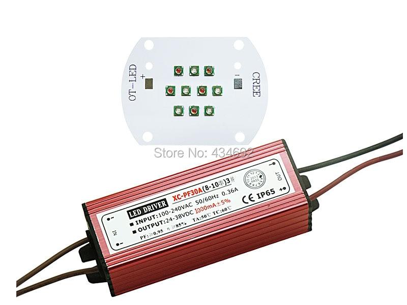 DIY LED Lamp 30W Cree XPE XP E Led Bulb Blue(5PCS) + Red ...