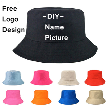 150Pcs Free Custom LOGO Design Bucket Hat Men Women Outdoor Sunscreen Fishing Cap Men Basin Chapeau Sun Prevent Hats