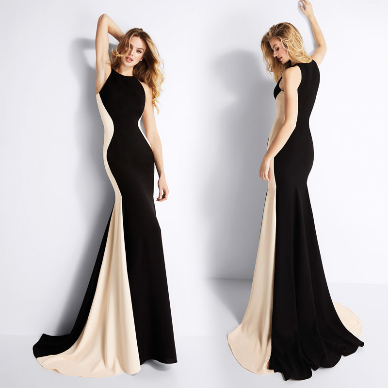 2018 offre spéciale mode auto-culture robe De soirée spécial contraste couleur longue robe complète Vestidos De Festa temps limité