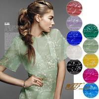 2015 New Fashion 100 Silk Organza Print Fabric Mulberry Silk Material Width 140cm