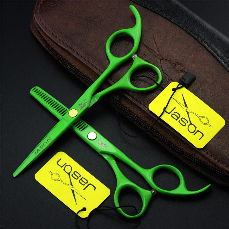 5.5 Hairdressing Scissors Green Professional Barber Salon Hair Cutting /Thinning 2pcs Shears+2pcs Combs+Leather Case Shear Set scissors 6 inch professional hair cutting scissors hairdressing salon barber shears dragon shaped handle