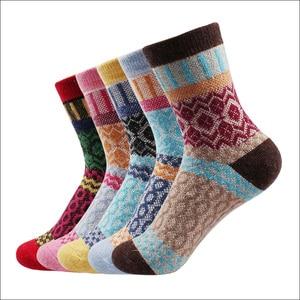 New Winter Thermal Cashmere Socks Women Warm Rabbit Wool Socks Women's Thicken Socks Girl Casual Socks Thick Gift 5 pairs