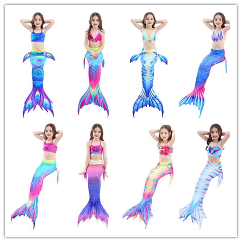 Swimmable Mermaid Tail for Kids Gyerekek Bikini Swim Swimsuit Ariel a - Jelmezek