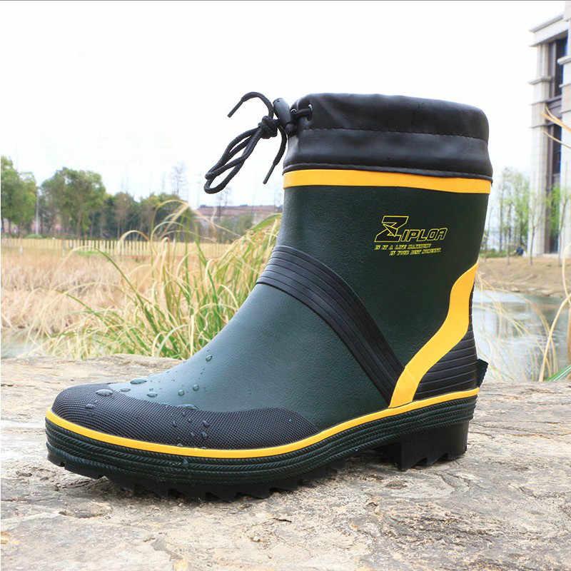 ef20e07e60c Fashion Men's Rubber Rain Boots Waterproof Fishing Boots High ...
