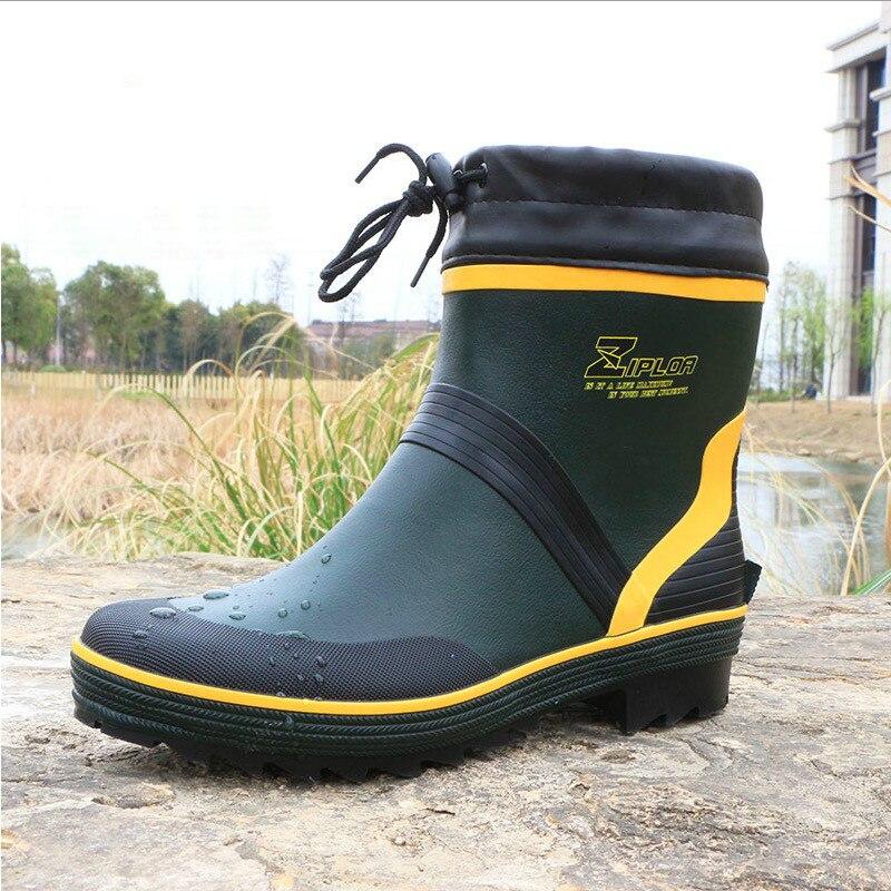 Bottes de pluie en caoutchouc de mode pour hommes bottes de pêche imperméables de haute qualité bottes de chaussures antidérapantes imperméables pour hommes