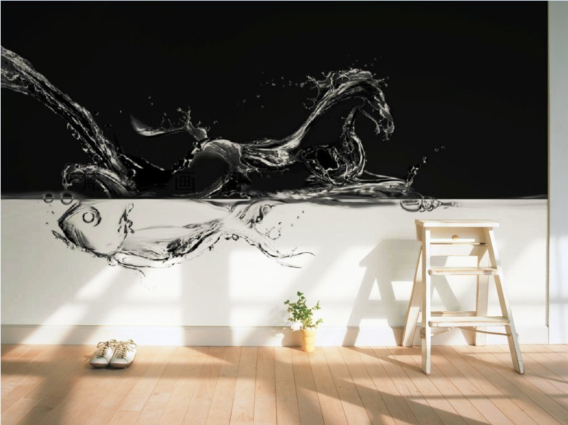 ФОТО Free Shipping dynamic black and white figure wallpaper modern minimalist style living room sofa TV background wallpaper mural