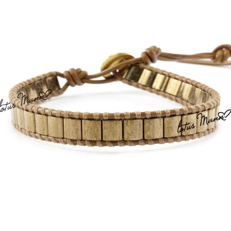 Lotus antique gold single-circle mann henna bracelet