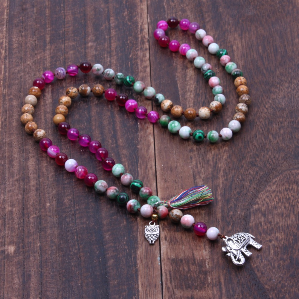 Long boho knotted necklace Owl and elephants Tassel Women Statement Necklace Gift Natural stone beads necklace Handmade jewelry long bead necklace ocean grass bead necklace boho natural stone necklace gift for her yoga