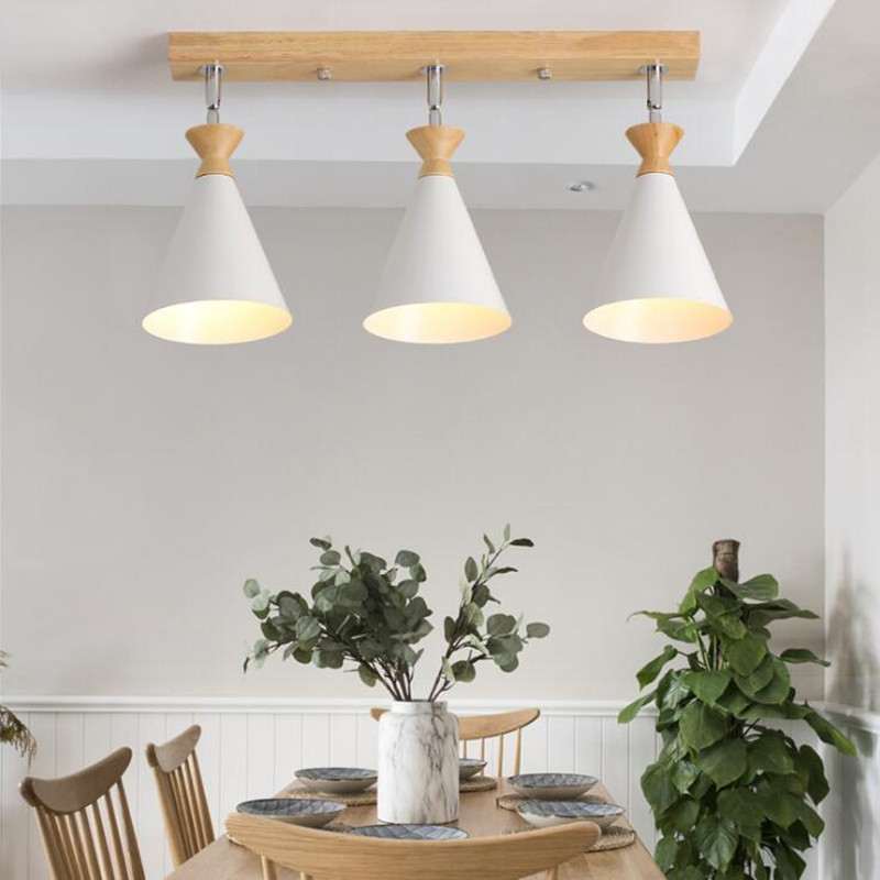 Luminaria Nordic Wood LED Ceiling Lamp For Restaurant