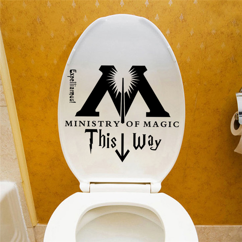 Ministry Of Magic This Way Toilet Door Decor wall sticker Wall Decal Harry Potter Parody Decor Harry Potter Sticker Wall Quotes 4