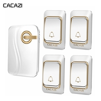 CACAZI Smart Wireless Doorbell DC Battery Operated Waterproof 4 Button 1 Receiver Home Cordless DoorBell 4 Volume 36 Chimes