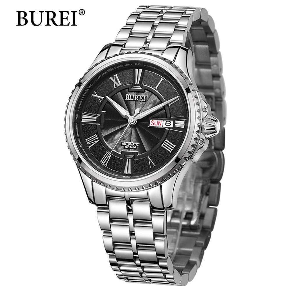 Top Luxury Brand BUREI Black Watch Men Casual Male Automatic mechanical Watches Business Sports Military Stainless Steel Watch ultra luxury 2 3 5 modes german motor watch winder white color wooden black pu leater inside automatic watch winder