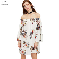 Eastabile Slash Neck Summer Beach Dress 2018 Floral Print Women Sexy Casual Ladies S Large Size
