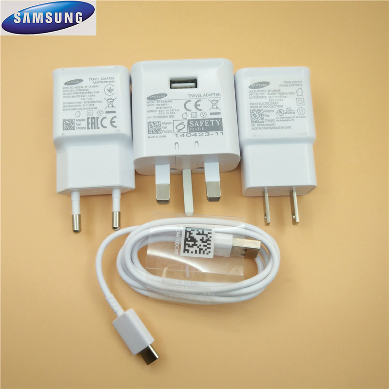 100%Original 9V/1.67A USB Quick Adaptive Fast Charger + type c Cable For Samsung Galaxy s8 s8plus s9 s9plus note 8 A3 A5 A7 2017