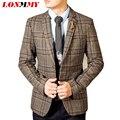 LONMMY 2016 Homens blazers masculino terno dos homens mens jaqueta blazer quadrado xadrez homem casacos de Lã blazer Magro dos homens Moda Outono 2XL