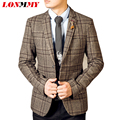 LONMMY 2016 Men blazers masculino mens suit mens blazer jacket Square plaid Wool blazer men Slim man coats Fashion Autumn 2XL