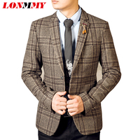 Fashion Long Style Mens Blazers Square Grid Wool Suit Slim Fit Man Coats Trend Free Shipping