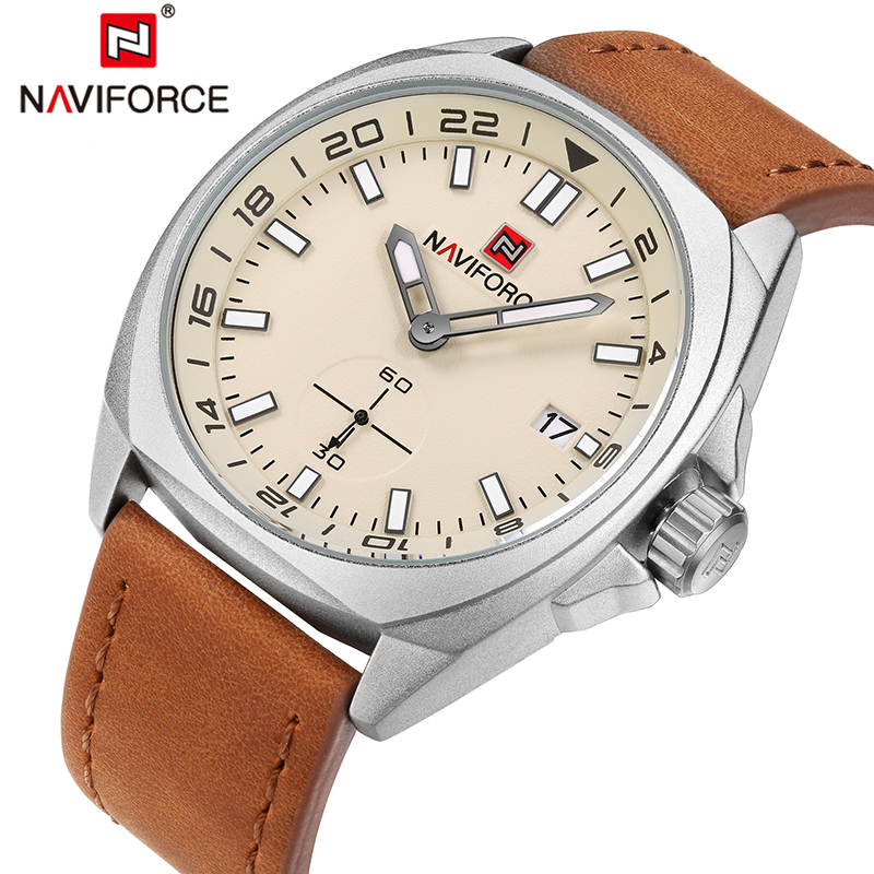 NAVIFORC Men Watch Top Brand Luxury Male Leather Waterproof Sport Quartz Watches Military Wrist Watch Men Clock montre homme luxury men watch leather wrist watch for man three time zone watches military clock male sport big quartz watch montre homme