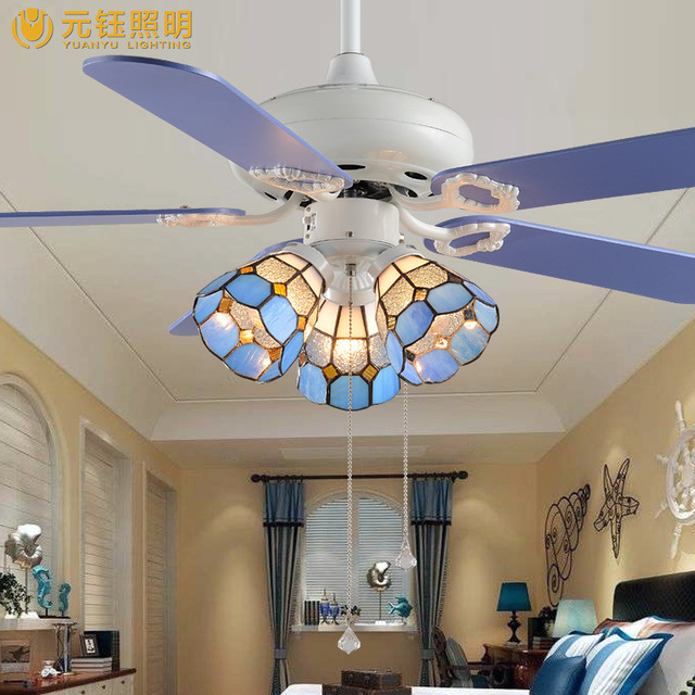 Fashion Blue Tiffany Creative Led 3 Heads Fan Ceiling Light For Children S Room Bed