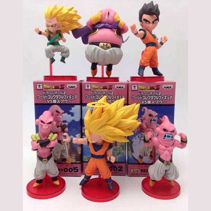 все цены на Anime Cartoon Dragon Ball Z Majin Buu Gotenks Saiyan Son Goku PVC Action Figures Collectible Toys 6pcs/set онлайн
