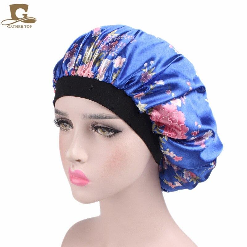 2017 new Luxury Wide Band Satin Bonnet Cap comfortable night sleep hat hair loss cap