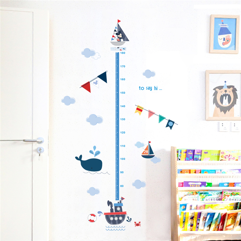 cartoon Mickey mouse sea boat height measure wall stickers for kids rooms home decor pvc growth chart wall decals diy mural art in Wall Stickers from Home Garden