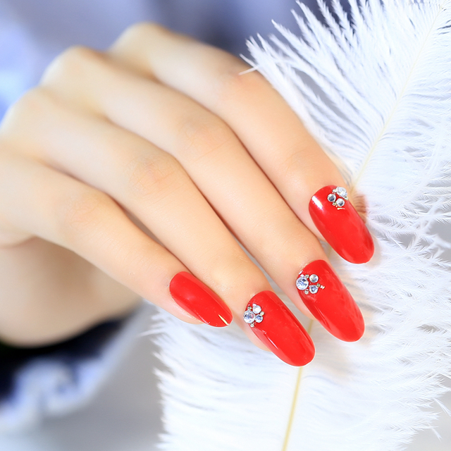 Bride Nail Patch Fake Fingernails Bride Art Finished Nails Red