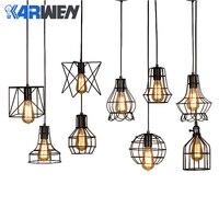 Karwen 현대 철 케이지 빈티지 led 램프 전구 로프트 피라미드 샹들리에 레트로 간결한 금속 매달려 램프 e27 led|인테리어 라이트|   -