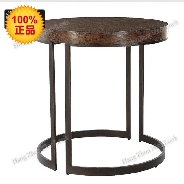 LOFT American Antique Wood Furniture, Wrought Iron Wood Vintage Small Round  Table And A Few