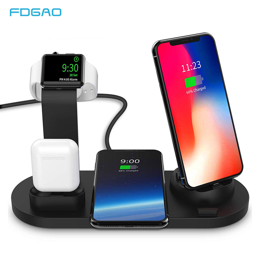 3 in 1 Charging Dock Holder For Apple Watch iPhone 11 Pro XS XR 7 8 Plus Airpods Dock Wireless Charger Stand Station Mounts Base-in Mobile Phone Chargers from Cellphones & Telecommunications