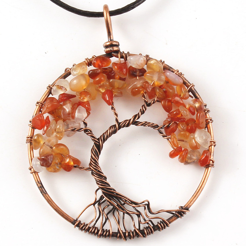 Trendy-beads Copper Wire Wrap Carnelian Pendant Tree of Life Necklace with Balck Rope Chain Jewelry