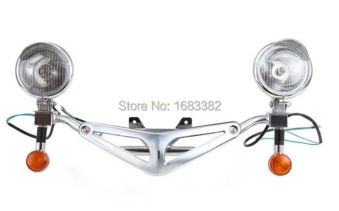 ФОТО Motorcycle Front Light Bar Headlight Passing Light with Turn Signal  For Honda Shadow VT750 C2 RC44 VT400 97-03