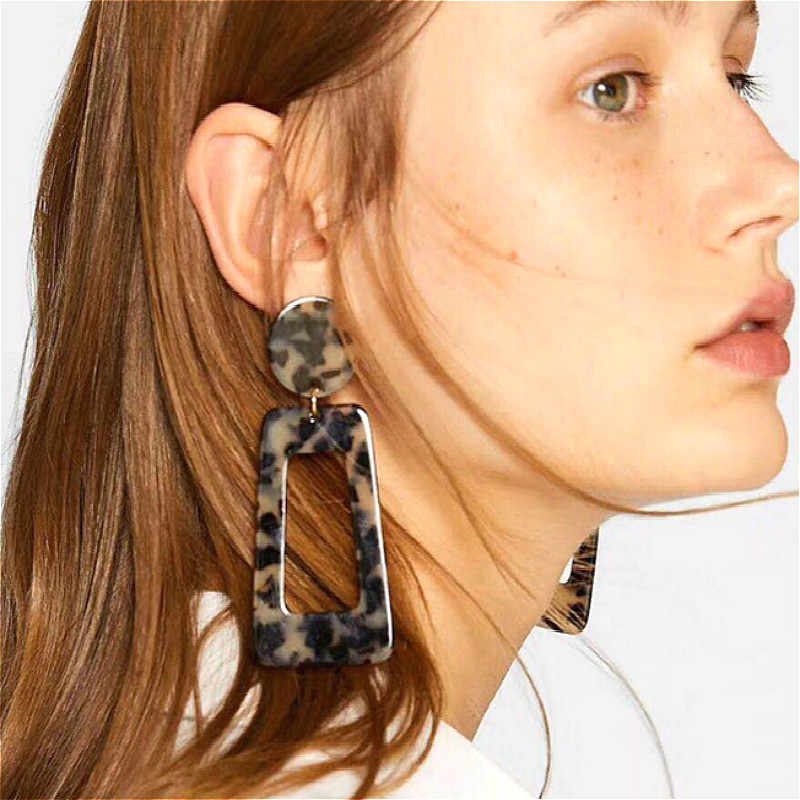 1 Pair Sell Rectangle Colorful Hoop Earrings For Women Geometry Square Design Elegant Earrings For Birthday Wedding Gift