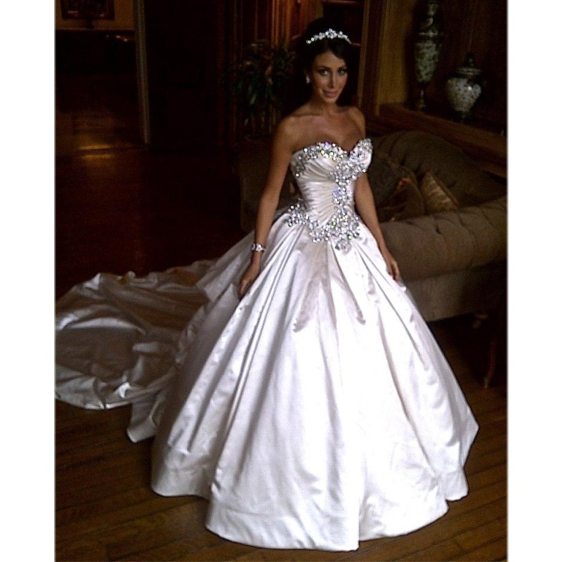 Ivory Bling Pnina Tornai Wedding Dress Sweetheart Ball