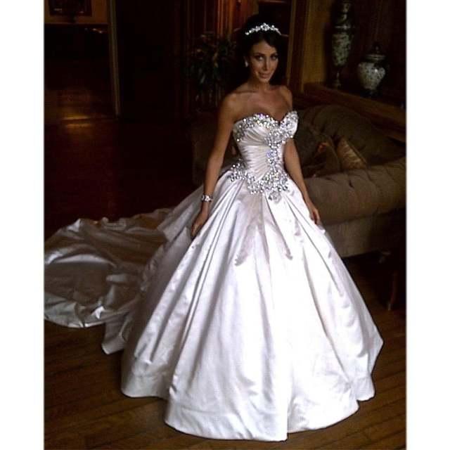 Ivory Bling Pnina Tornai Wedding Dress Sweetheart Ball Gowns