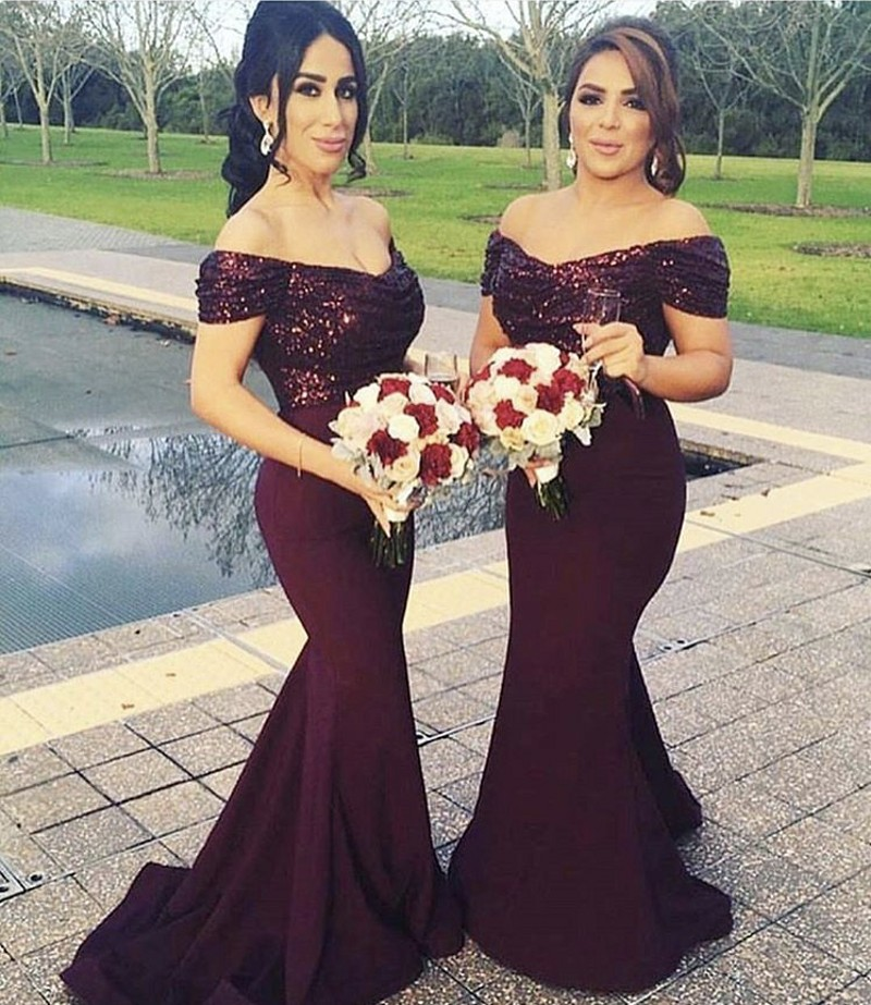 Luxury Deep V-Neck Off The Shoulder Mermaid Sequins And Satin   Bridesmaid   Gowns Sequined   Bridesmaid     Dresses   Wedding Party   Dresses